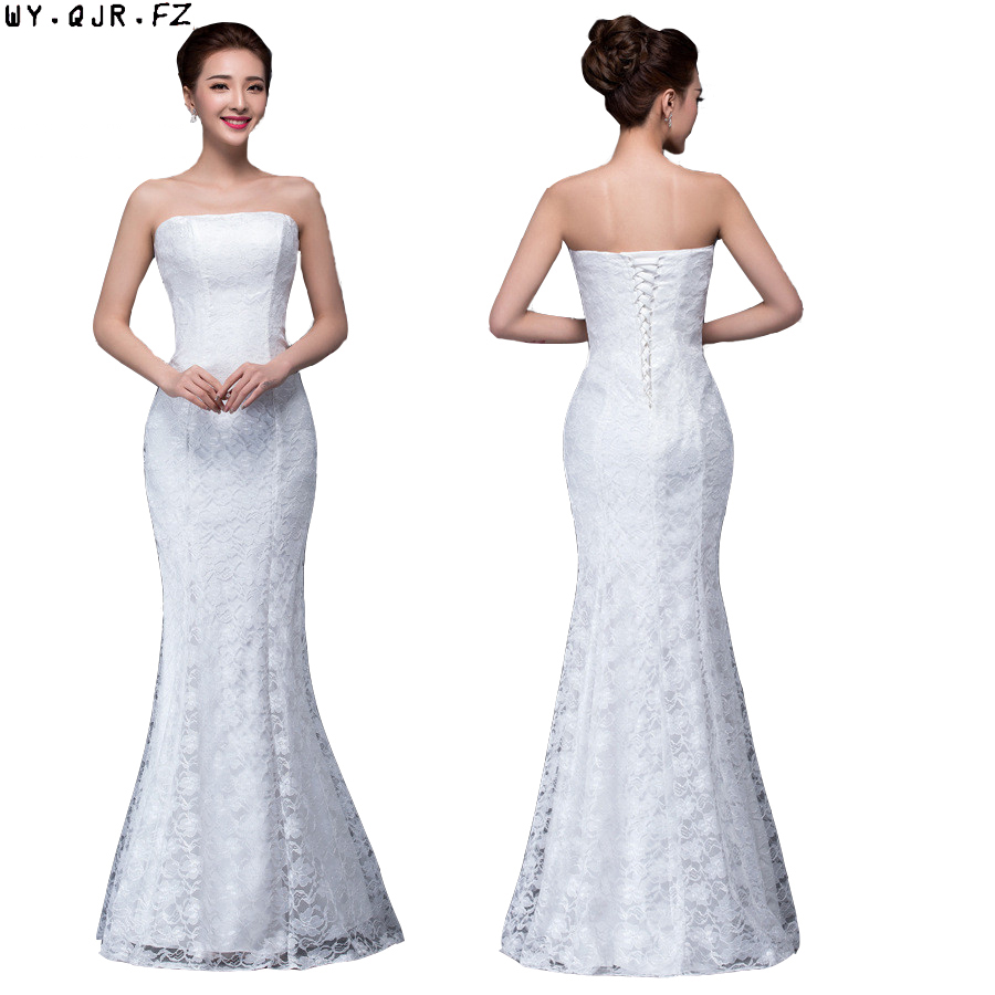 DM2670B#Spring Summer New 2019 Fish Lace Up Tail Sexy Long Dresses Bride Toast Wedding Dress Gril Wholesale Women Clothing Cheap