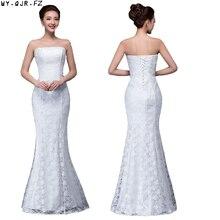 DM 2670 # 봄 여름 새로운 2019 물고기 레이스 꼬리 섹시한 긴 드레스 신부 토스트 웨딩 드레스 그릴 도매 여성 의류 저렴한
