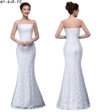DM 2670#Spring summer new 2019 fish lace up tail sexy long Dresses bride toast wedding dress Gril Wholesale women clothing cheap