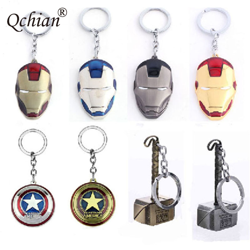 American hero weapons Thor Hammer Five-pointed Star Shield Iron Man Mask Alloy Cosplay Decorative Pendant Keychain