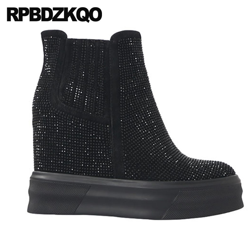 Booties Apricot Booties black Flatform D'hiver Wedge Bout Noir black Rond Plate De forme Talon Chaussons Red Boots Femmes Muffin Strass Chaussures Qualité Chelsea Bottines Haute 2018 Hq4fwxC