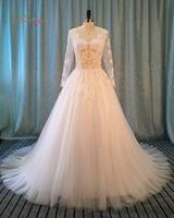 Dream Angel Vestido De Noiva Long Sleeve Vintage Wedding Dress 2017 Luxury V Neck Appliques Beaded