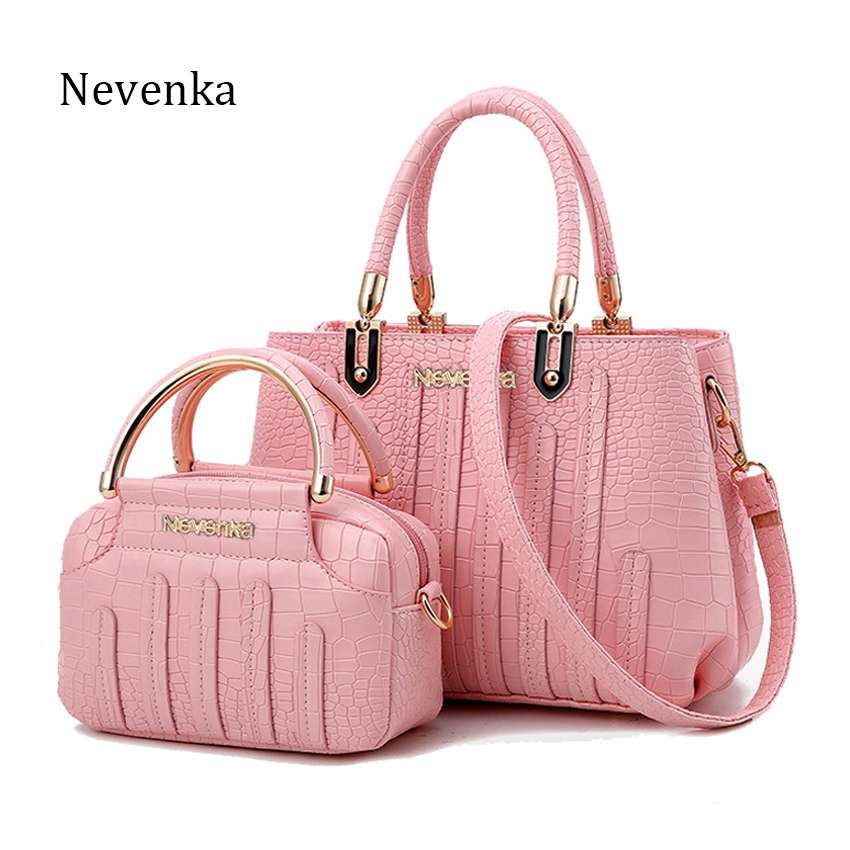 NEVENKA Fashion Women Bag Composite Bag Brand Tote Ladies Evening Handbag Shoulder Bags Solid Pu Leather Messenger Bags Sac 3128 nevenka women bags lady shoulder bag brand female flap mini bag evening bags pu leather tote style original design handbag sac