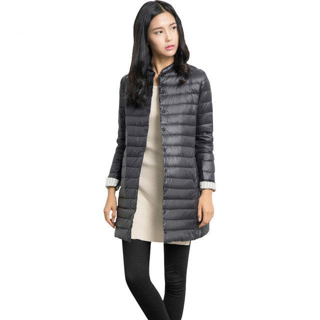 Spring Autumn Ultra Light thin down jackets 90% white duck down coat women's medium long slim jacket outerwear QY15122101