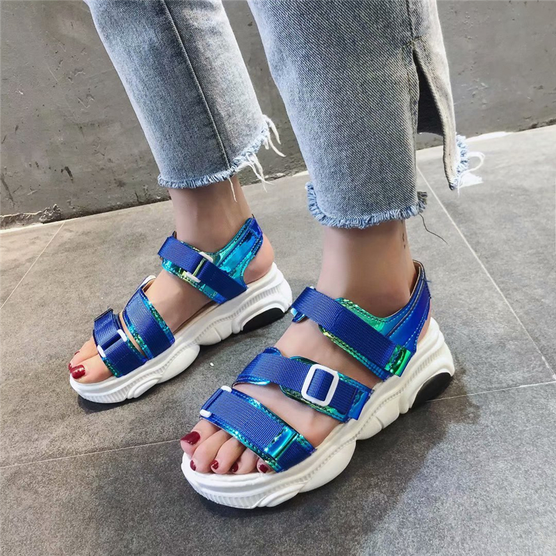 sandalias mujer 2019 summer laser mixed colors Punk women wedges shoes platform hook-loop gladiator feminina sandals size 40