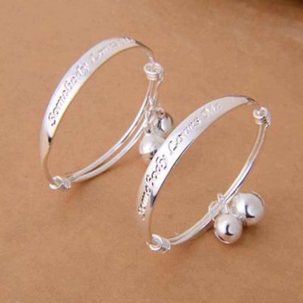 2pcs Baby Bracelet 925 Kids Bell Bangle Bracelet Jewelry Cute Child Baby Bracelet Jewelry For Kids Gift  #2