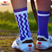 WOSAWE Cycling Socks Professional Sports Asymmetric Check Basketball Calcetines Ciclismo Running Hiking Racing Men