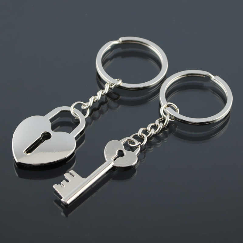 b5320a6605 Lock Key Keychain Cute Heart Lovers Gift Couples Romantic Key Chain Ring  Cover Holder Trinket Chaveiro