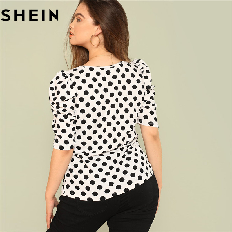 SHEIN Black And White Polka Dot Puff Sleeve Round Neck Plus Size Tops 2018 Summer Casual Office Lady Half Sleeve Elegant Blouses 2