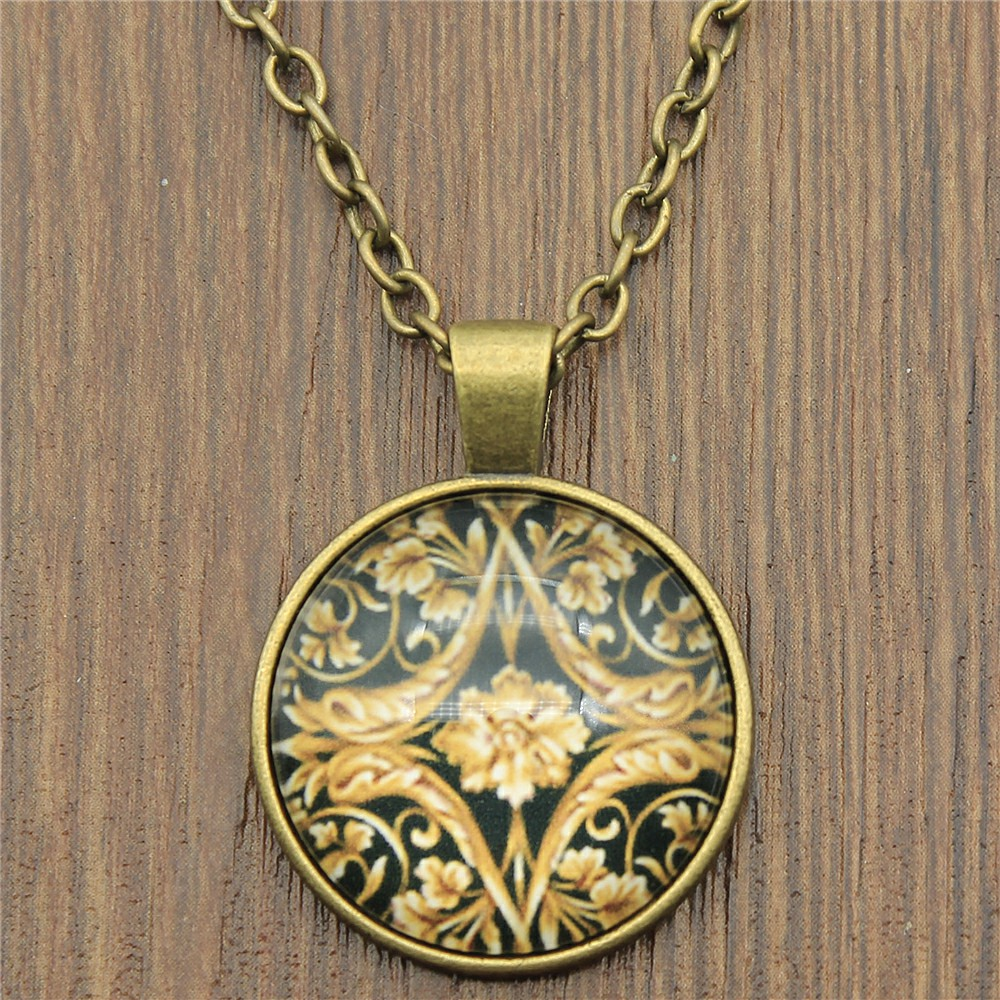2 Colors Fashion Royal Noble Flower Pattern 25mm Glass Cabochon Necklace For Women Jewelry Gift Dropshipping Supplier in Pendant Necklaces from Jewelry Accessories