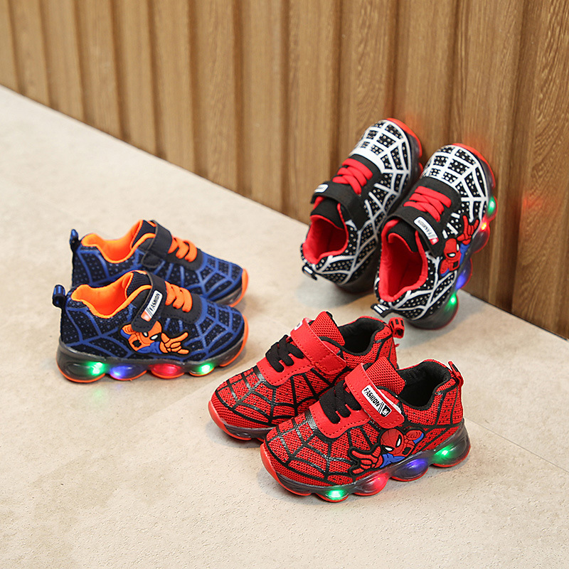 Davidyue Mesh Spiderman Kids Shoes Girls Boys Children Luminous Led Kids Sneakers Casual Luminous Led Sneakers