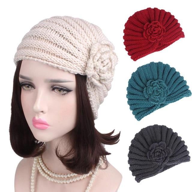 a3be51f91a9 Women Ladies Boho Knitting Cancer Hat Beanie Scarf Turban Head Wrap Cap  Women s winter hats Touca inverno Bonnet Gorra Headdress