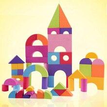 50 pcs Crianças Brinquedo da Inteligência Crianças Edifício de Tijolo de Bloco de Construção de Espuma Macia Exercício Presente para a menina e menino feliz