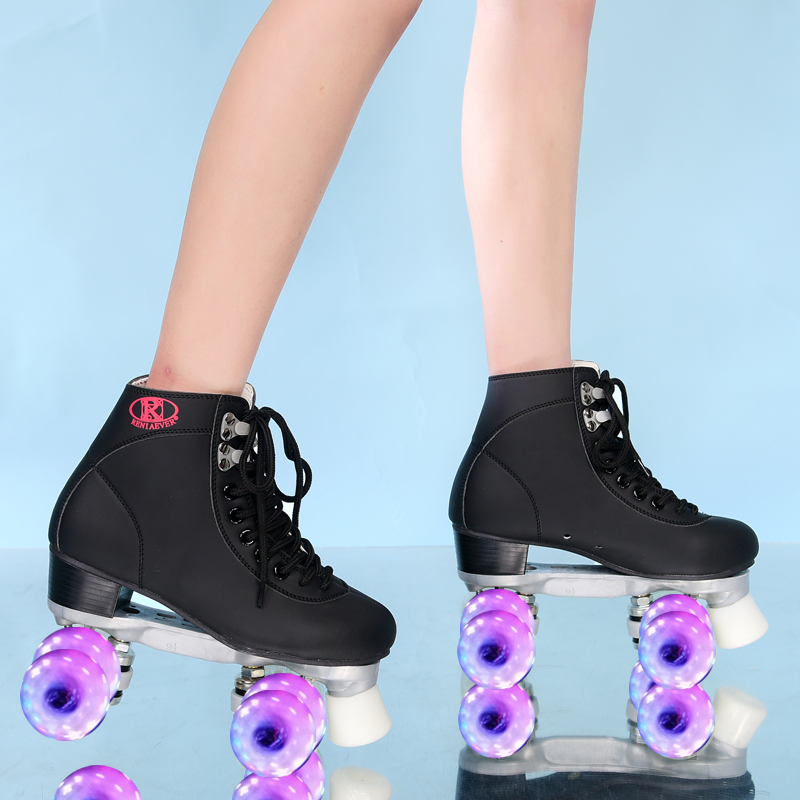 Roller Skates Geniune Leather Double / Two Line Skate Pink Men Women Adult PU 4 Flashing / Led Wheels Skating Shoes Patines C002 japy roller skates geniune leather double line skate pink men women adult pink pu 4 wheels two line skating shoes patines c003