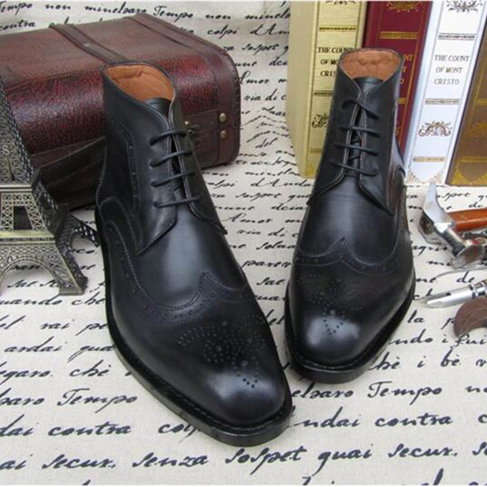 Sipriks bespoke goodyear welted dress boots imported Italian calf leather black brogue boot leather outsole martin boots shoes goodyear leather shoes handmade custom business men leather italian brand new men dress shoes bespoke calfskin leather outsole