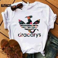 Dracarys игра трона Женская футболка женская летняя с принтом дракона Футболка белая Повседневная размера плюс уличная мода футболки