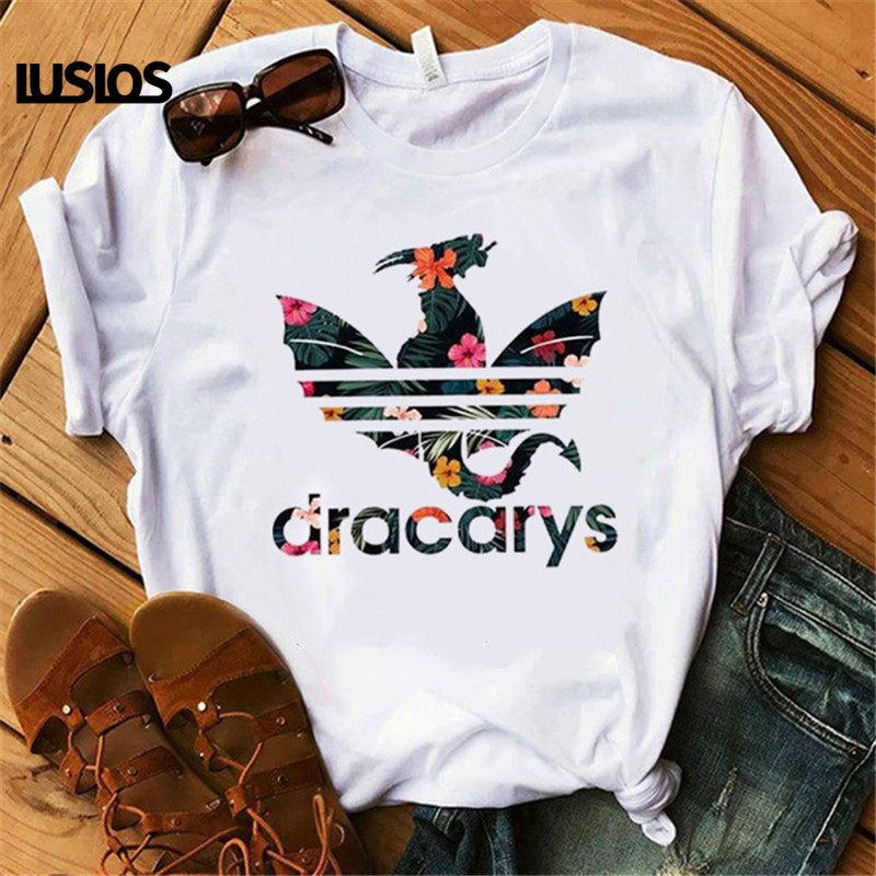 Dracarys GAME OF THRONE Female T Shirt Women Summer 2019 Dragon Print Tshirt White Casual Plus Size Streetwear <font><b>Fashion</b></font> T-shirts image