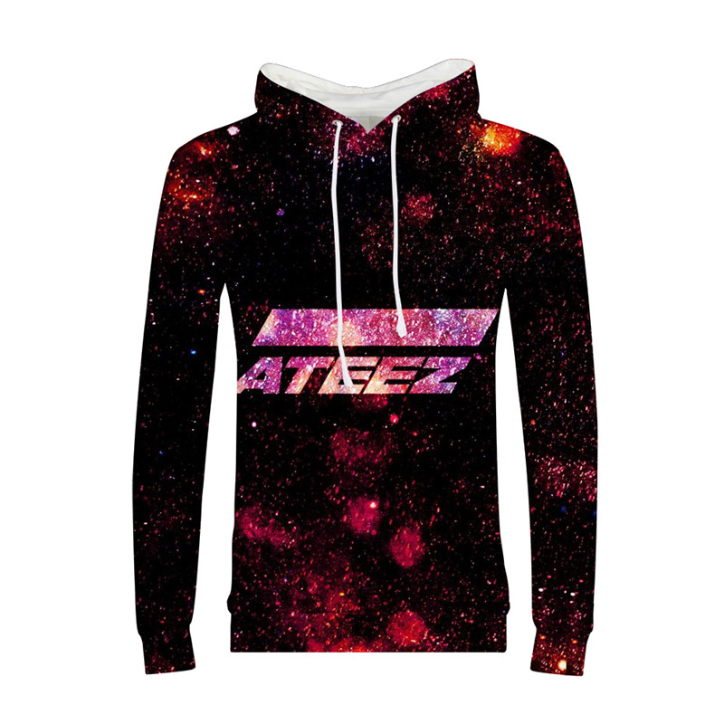 Hoodies Women Fashion Cool Harajuku Korea Group ATEEZ Letter 3D Printing Hoodies Pullover Hoodies Long Sleeves