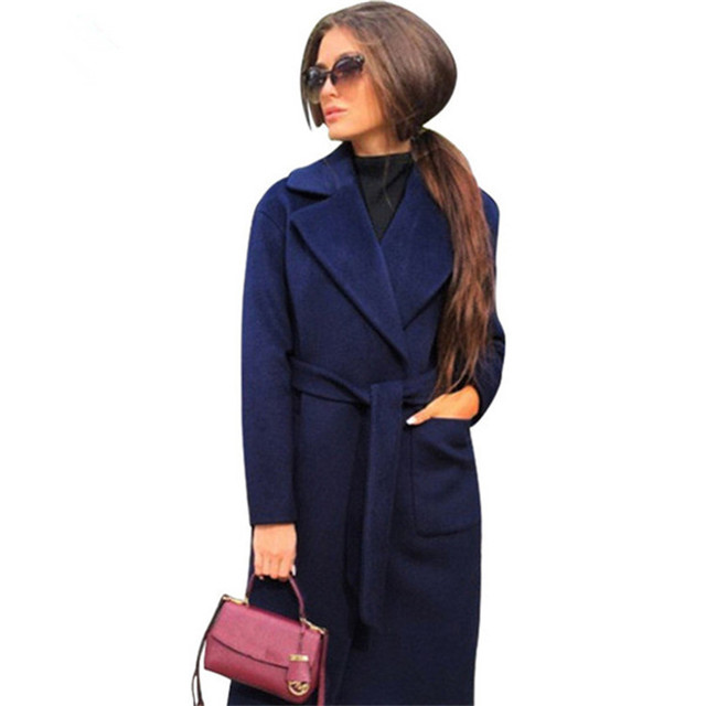MVGIRLRU elegant Long Women's coat lapel 2 pockets belted Jackets solid color coats Female Outerwear 2