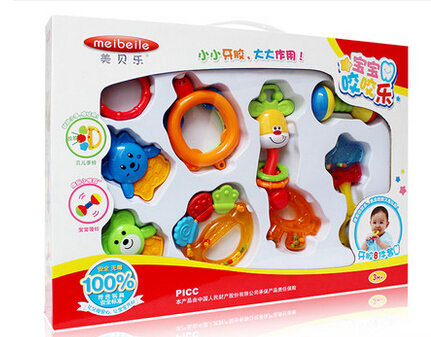 Newborn Baby Toy 0 1 Year Old Teethers Rattles Gift Box Set Male