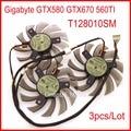 O envio gratuito de 3 pçs/lote everflow t128010sm 75mm 75mm 40x40x40mm para gigabyte gtx580 gtx670 560ti graphics ventilador de refrigeração 5pin
