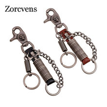 ZORCVENS Punk Love Genuine Leather Punk Rock Retro Spring Key Chains Man Vintage Skull Jewelry Wholesale(China)