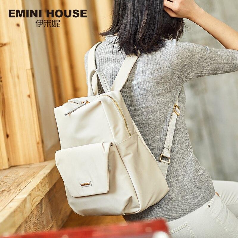 Эмини дом нейлоновый рюкзак для ноутбука Для женщин мешок школы моды путешествия рюкзак на молнии сумки на плечо вместительные рюкзаки для ...