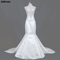 Ivory Sexy Mermaid Wedding Dress Spaghetti Strapless Elegant Wedding Dresses Long Bridal Gowns Sequined Beaded Robe