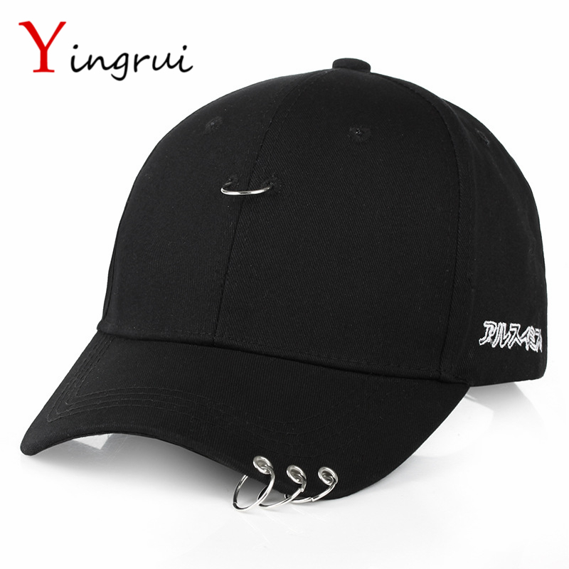 8 style Unisex Piercing Ring Curved Baseball Cap Men Women Snapback Caps Fashion Black Hat with Circle Kpop tanger so239 mini uhf female jack to sma male plug right angle with 20cm 8 rg316 rf coaxial pigtail low loss cable high quality