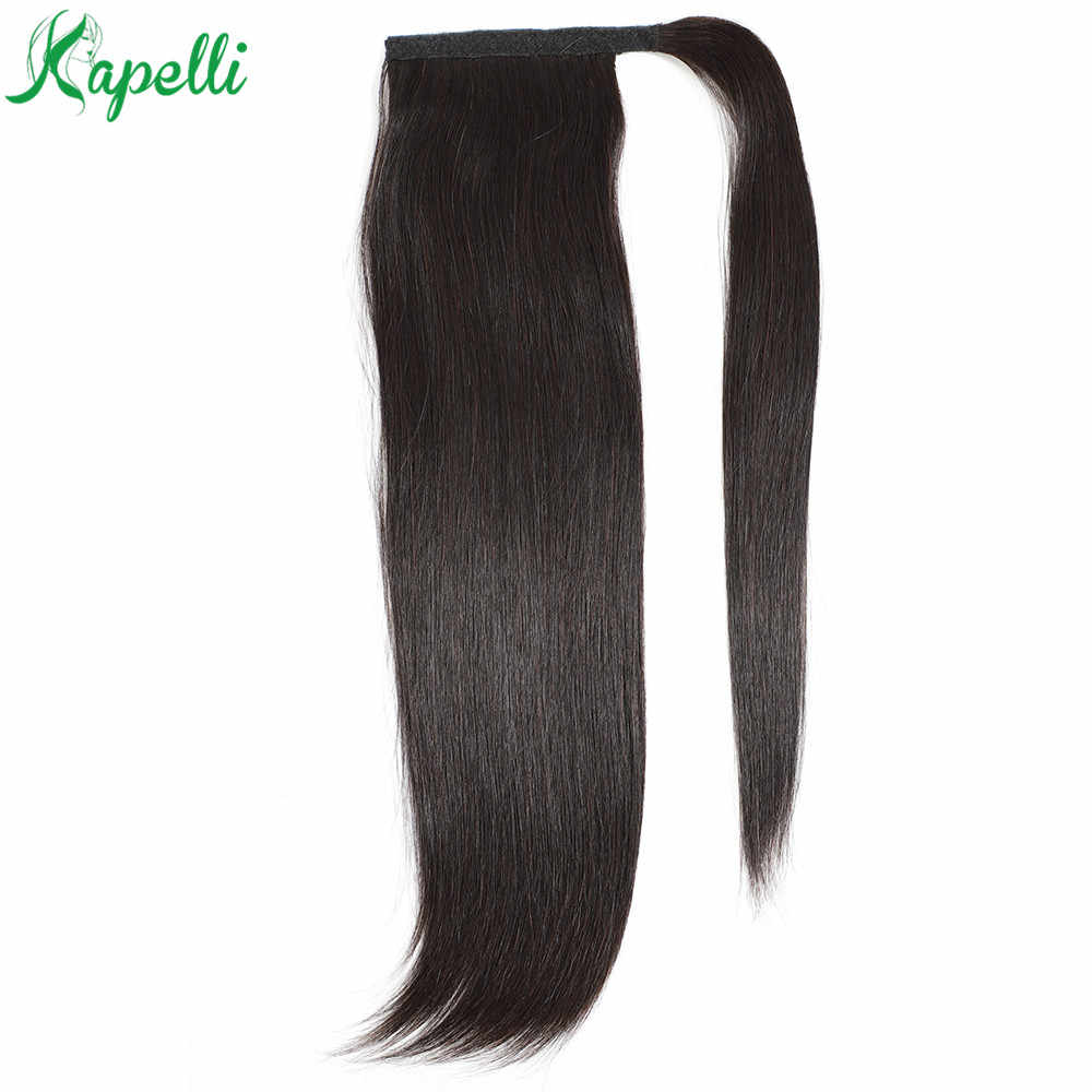 Pelo humano largo Natural envolver la pieza de la cola de caballo en extensiones de cabello humano cola de Pony paquetes rectos brasileños Remy 70g -100g