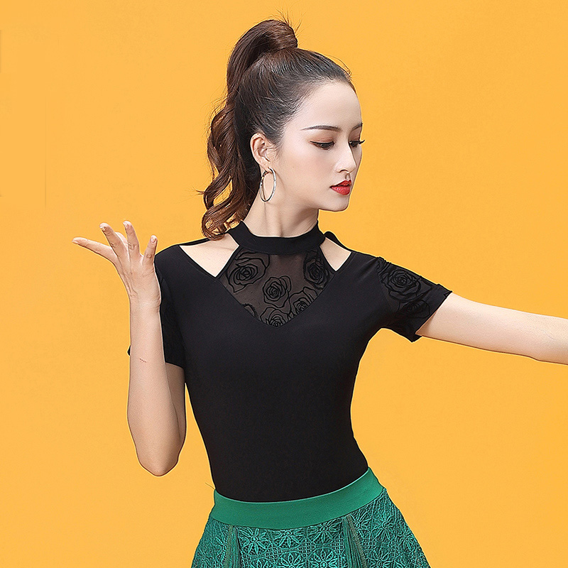 Turtleneck Short Sleeve Cutout Modern Latin Dance Clothes Top For Women/female,Ballroom Tango Costume Performance Wears YT0502