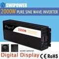 2000 Вт Чистая Синусоидальная волна солнечной энергии инвертор DC 12 В 24 В 48 В к AC 110 В 220 В цифровой дисплей