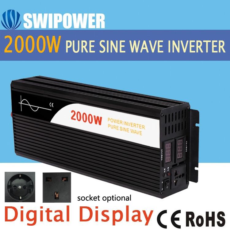2000W de onda senoidal pura energia solar inversor DC 12V 24V 48V a 110V AC 220V display digital