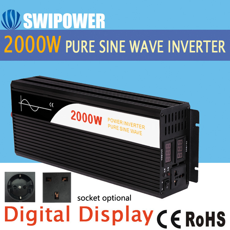 2000W pure sine wave solar power inverter DC 12V 24V 48V to AC 110V 220V digital
