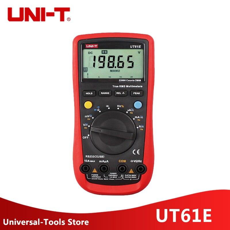 UNI-T UT61E multimètres numériques 22000 compte vrai Rms multimètre numérique valeur maximale RS232 REL AC ampèremètre cc