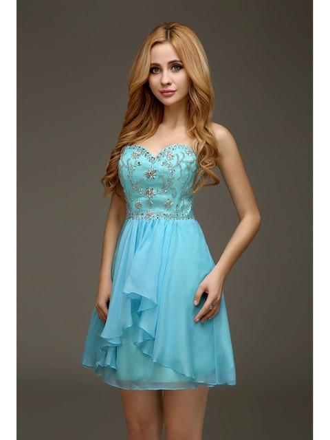 4495fb5e46 2016 Real azul lindo cóctel vestidos cortos del amor A-line que rebordea la  gasa