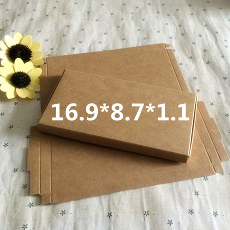 50 pcs 16.9*8.7*1.1cm Kraft paper gift box for wedding,birthday and Christmas party gift ideas,good quality for cookie/candy ...