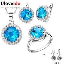 Uloveido nupcial conjunto joyería de la boda para las mujeres anillo collar pendientes sistemas de la joyería con piedras azules accesorios bijouterie t011