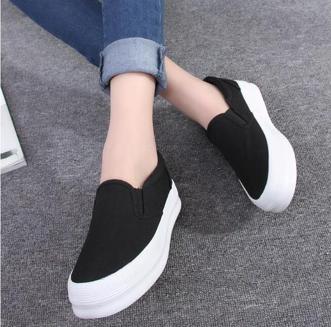 74136bec La moda de primavera 2015 zapatos de mujer resbalón en zapatos mocasines de  lona zapatos de las plataformas de Color sólido zapatos bajos mujer calzado  para ...