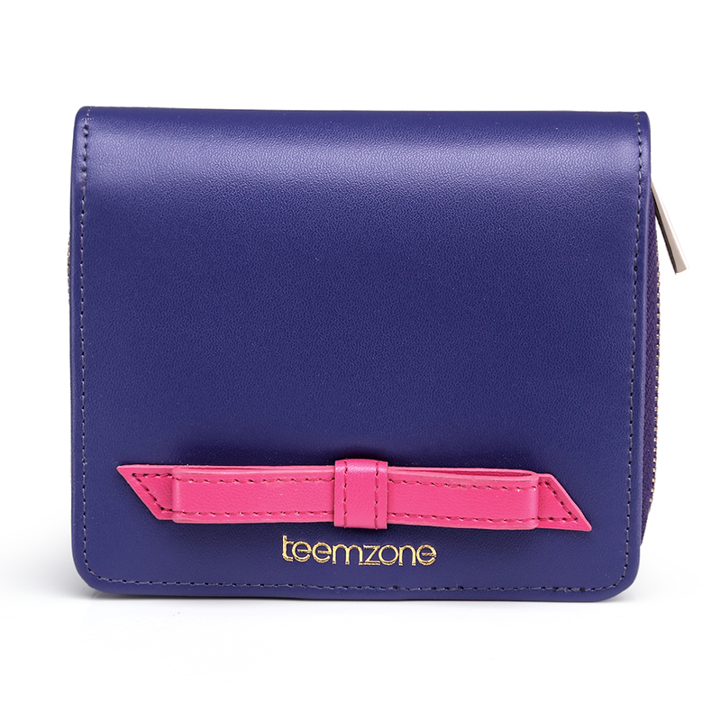 ФОТО teemzone Bow Buckle Wallet  Hasp Wallet Fashion Women's Genuine Leather Wallet Lady Card Purse Handbag Wallet Coin Packet Q465