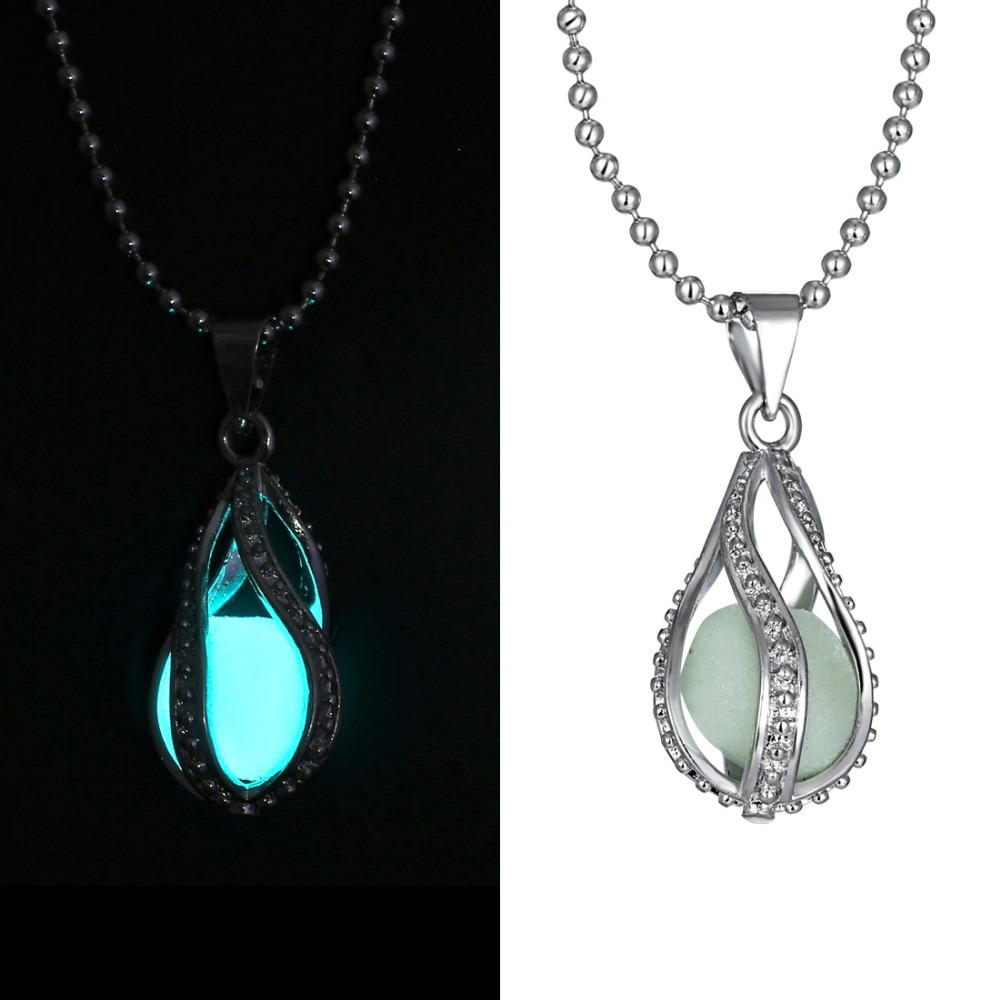 included com with glow bronze sparkle necklace flashlight in jewelry uv glowing blue dp dark orb the charm dragon amazon