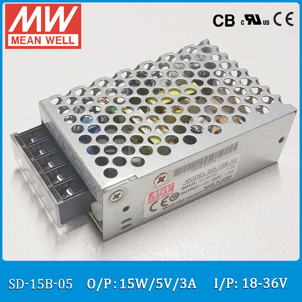 Original MEAN WELL SD-15B-05 DC/DC Single Output 15W 3A 5V Input 18~36VDC enclosed type converter sayoon dc 12v contactor czwt150a contactor with switching phase small volume large load capacity long service life