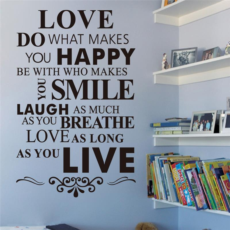 Love Happy Smile Laugh Live Quotes Wall Sticker BedRoom Decor Diy Home Decal Art Peel And Stick