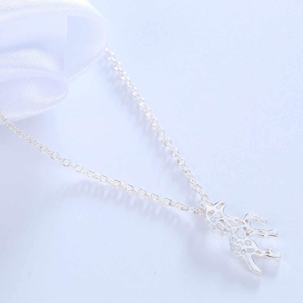 Cxwind New Unicorn Necklaces for Women Fashion Jewelry Tiny Brushed Cut Out Unicorn Pendant Necklace Statement Collar Bijoux