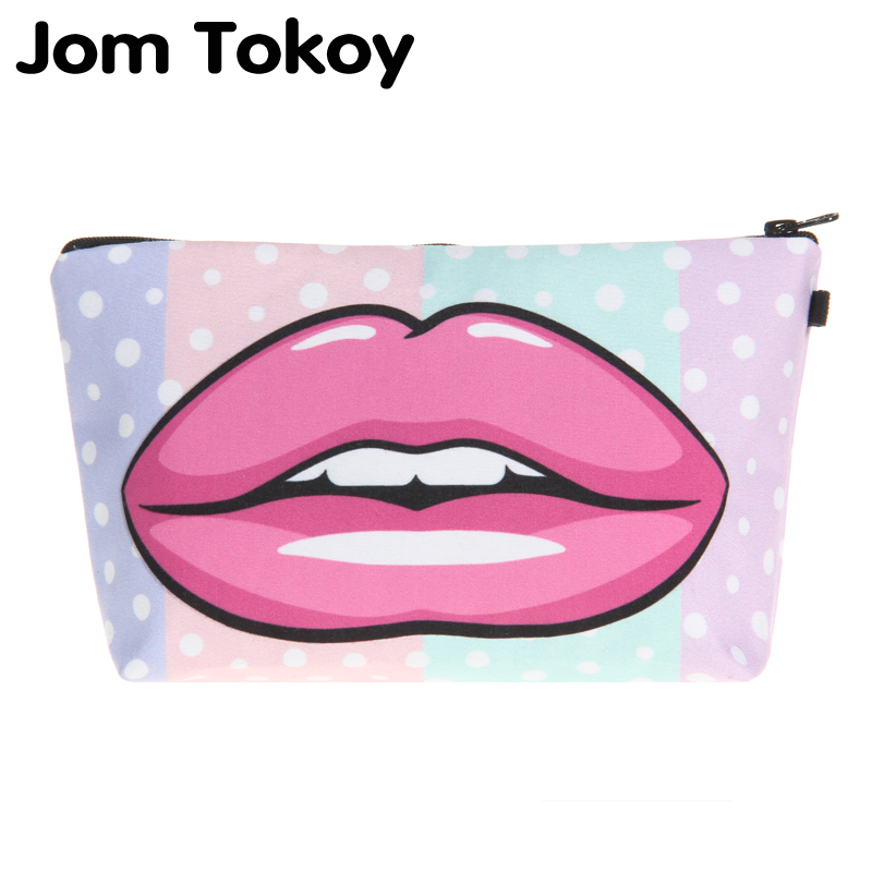 Jom Tokoy Cosmetic Organizer Bag Heat Transfer Printing Red Lips Makeup Bag Fashion Women Brand Cosmetic Bag