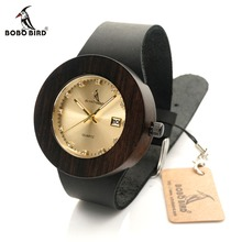 BOBO LbC02 Japanses Calendario Dial Movimiento de Cuarzo Reloj De Madera de AVES C03 para Mujeres y Hombres Ronda Caso Ebony Mira con relojes