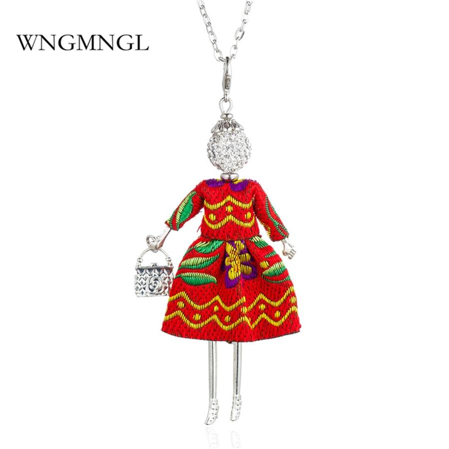 WNGMNGL Women Pendant Necklace Charm Dress handbag Crystal Long Cute Doll For 2018 New Statement Fashion Jewelry