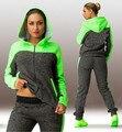 Moda Casuais 2 Pcs Set Treino Mulheres Com Capuz Zipper Com Capuz Tops + Calças Define Sportwear Plus Size Ternos de Roupas 2 cores
