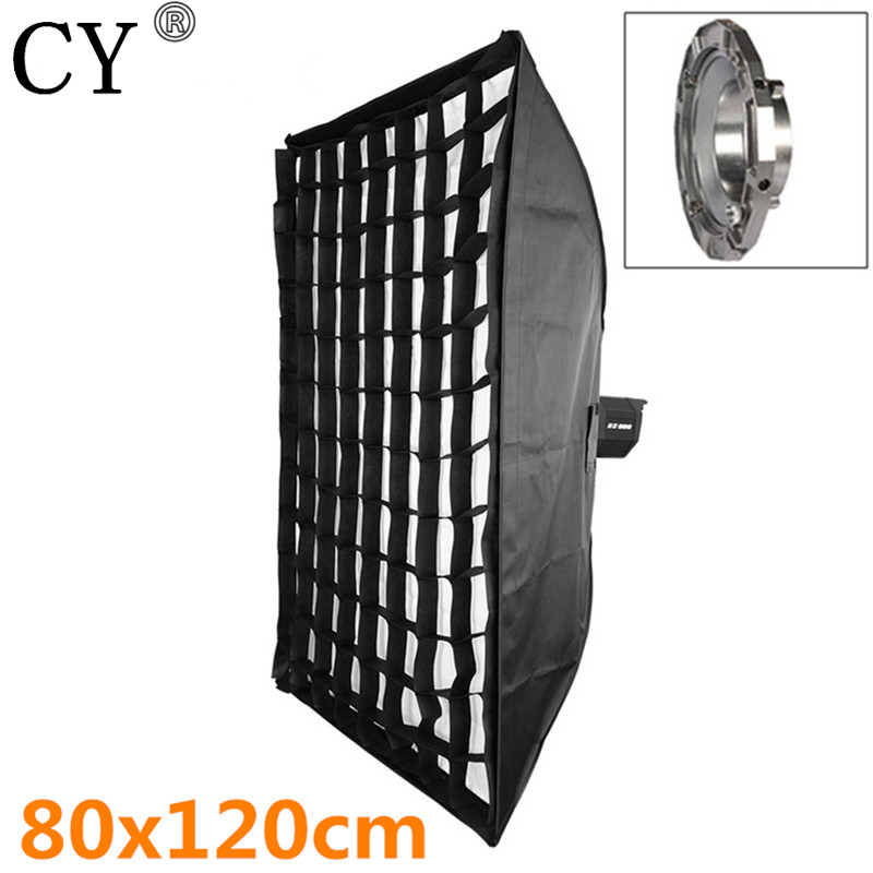 High Quality 80x120cm Photo Studio Softbox With Grid + Bowens Mount Soft Box For Flash Light