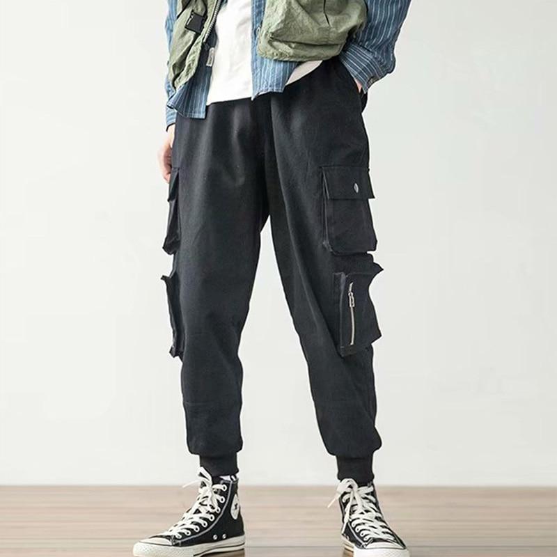 Men Black Joggers Casual  Pants Summer  Mens Big Pockets  Harem Cargo Pants Male Spring Streetwear Overalls Sweatpants 2019